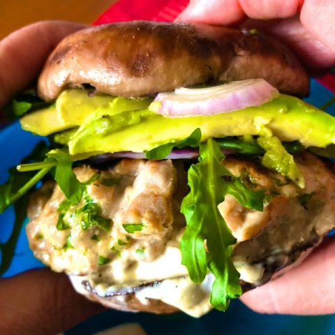Savory Tuna Burgers with Sriacha mayo and portabella mushroom buns recipe