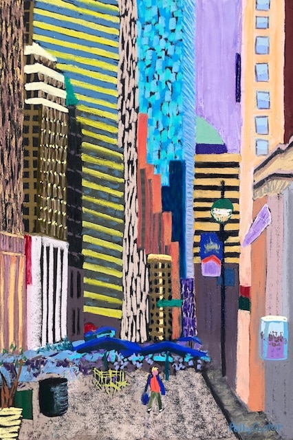 Alone in the City (pastel by Polly Castor)