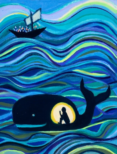 Jonah and the Whale, painting by Polly Castor