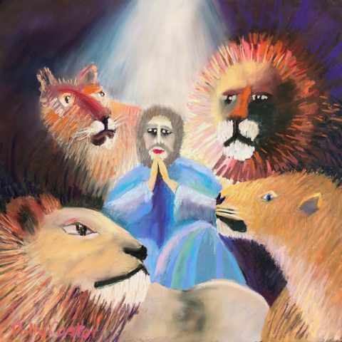Daniel and the Lion's Den (pastel) by Polly Castor, paintings of Old Testament stories