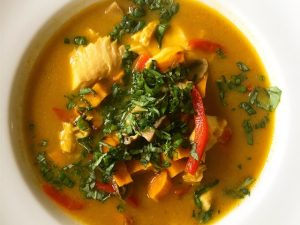 Green Curry Tilapia and Veggie Soup (Recipe)