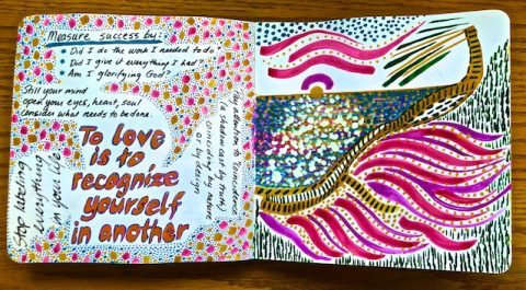 Recent artist journal pages with words