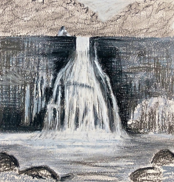 Sketch of Our Daughter on Top of Howe's Falls (nupastel) by Polly Castor