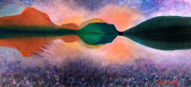 Odd Light on South Branch Pond (pastel) by Polly Castor