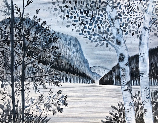 From Our South Branch Pond Campsite (Sumi Ink) by Polly Castor