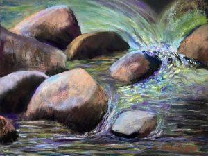 Two Plein Air Pastel Paintings of Katahdin Stream
