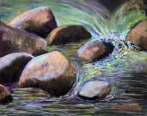 Katahdin Steam Close-up (pastel) by Polly Castor