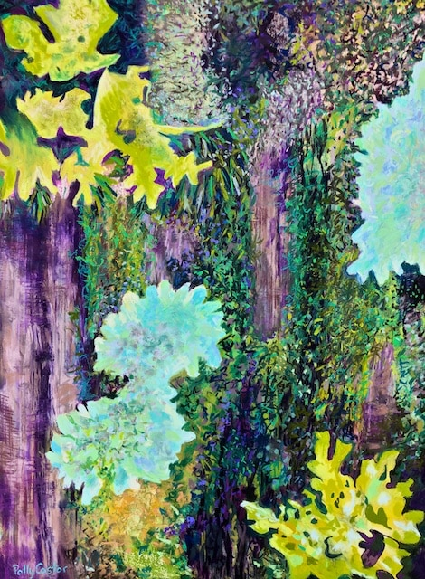 Katahdin Bark with Lichen and Moss (large plein air pastel) by Polly Castor