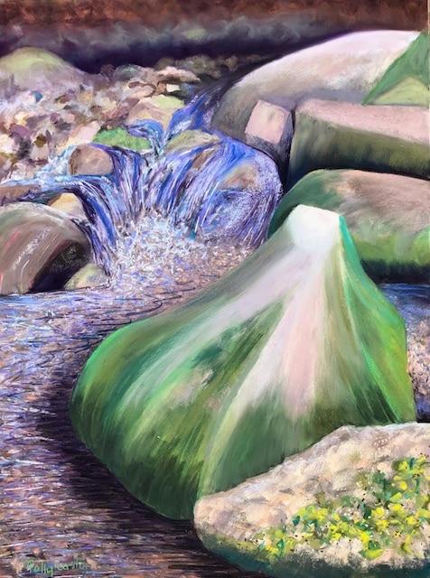 Eroded Rock in Katahdin Stream (pastel) by Polly Castor